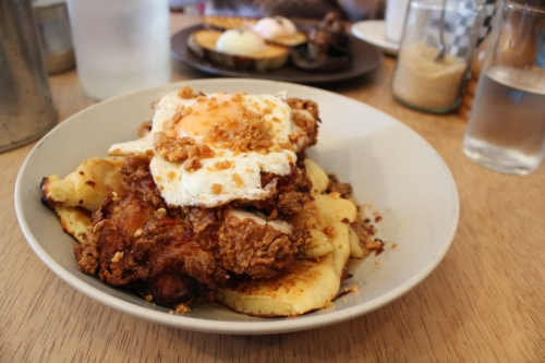 Fried Chicken Buttermilk Pancakes ($21)